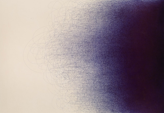 "BL-120 by Il Lee, Ballpoint pen on canvas, 82"" x 117"", 2011"